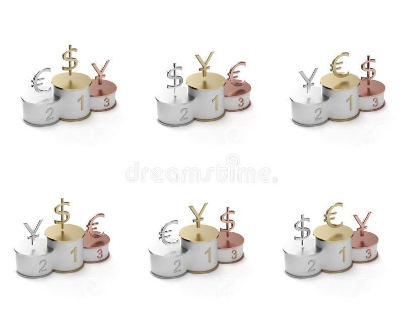 Download Euro, Dollar And Yen Symbols On A Pedestal Stock Illustration - Image: 22033661
