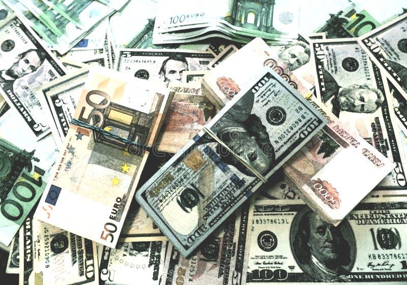 Euro dollaro e disegno russo dell'acquerello dei soldi delle banconote delle macerie fotografia stock libera da diritti