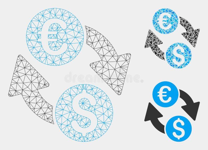 Euro Dollarverandering Vector het Mozaïekpictogram van Mesh Carcass Model en van de Driehoek stock illustratie