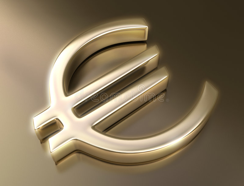 Euro dourado do sinal ilustração stock