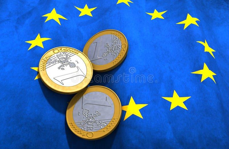 Euro drapeau d'argent illustration libre de droits