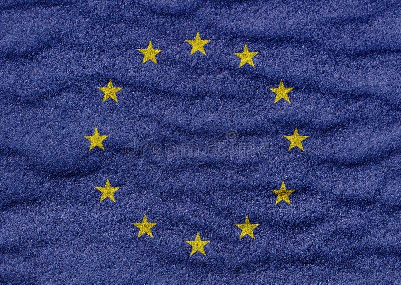 Euro drapeau sur le sable illustration stock