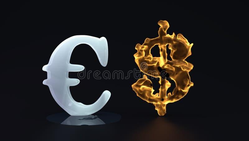 Euro- e dolar quente do gelo ilustração stock