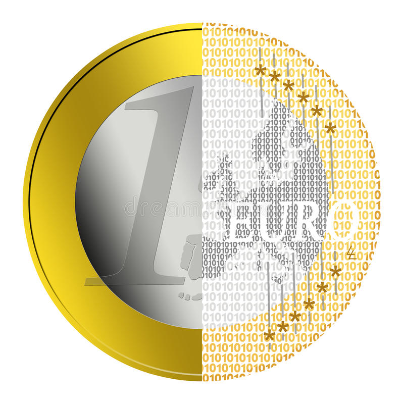 Euro e-payment. Euro coin getting converted into digital payment