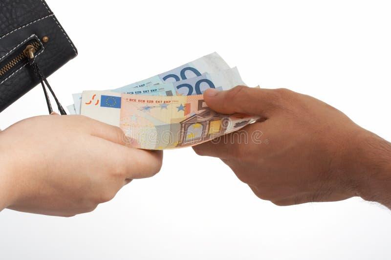Euro e raccoglitore fotografia stock libera da diritti