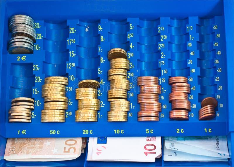 Euro em uma caixa do dinheiro fotografia de stock royalty free
