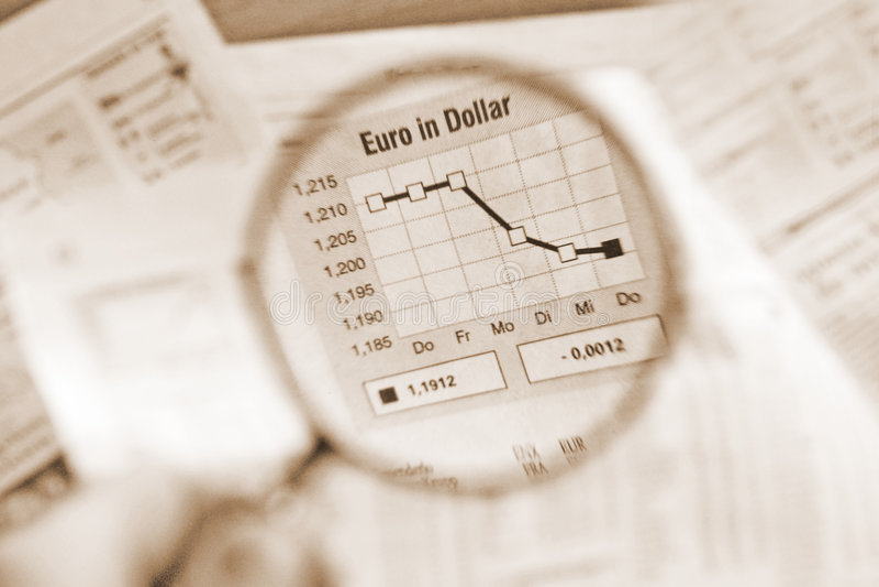 Euro En Dólar Foto de archivo libre de regalías