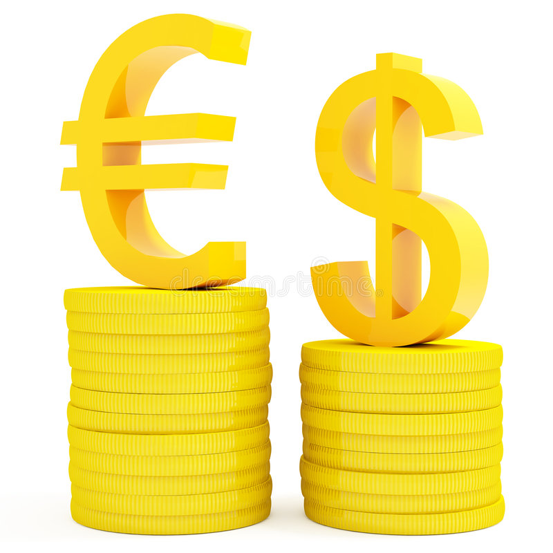 Euro en dollar royalty-vrije illustratie