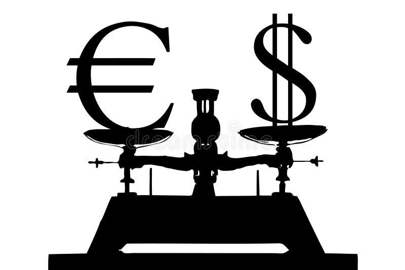 Euro en dollar vector illustratie