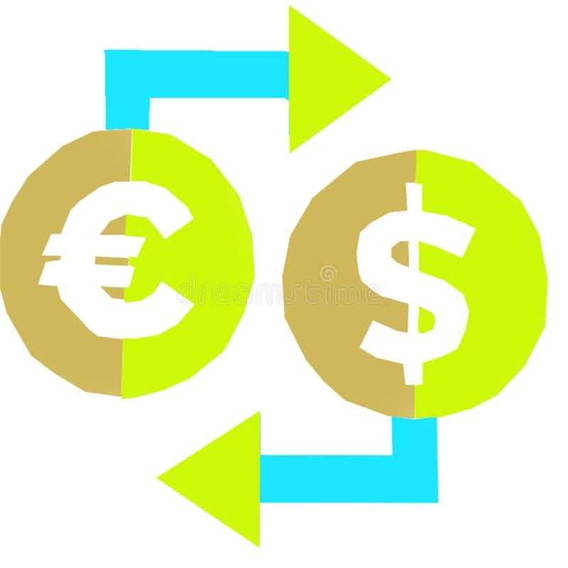 Euro en dollar cartooon kleuren vector illustratie