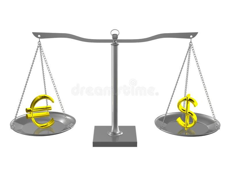 Euro en Dollar per saldo royalty-vrije illustratie