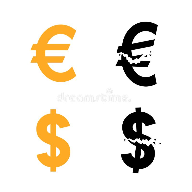 Euro en dollarvalutasymbool en hun gebroken variant royalty-vrije illustratie