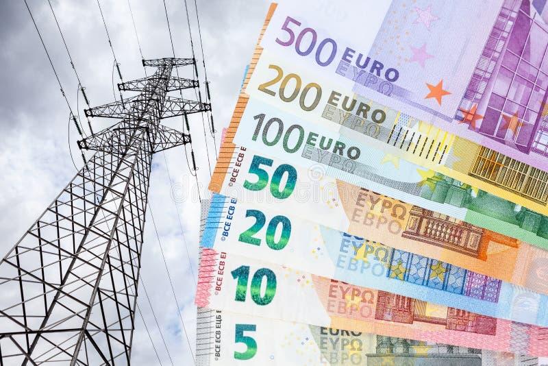 Euro en een elektriciteitspool royalty-vrije stock foto's
