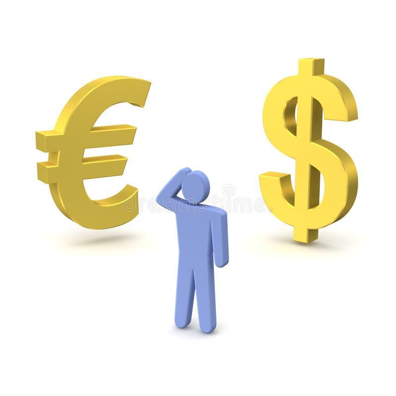 Euro en het denken mens de van de dollar, royalty-vrije illustratie