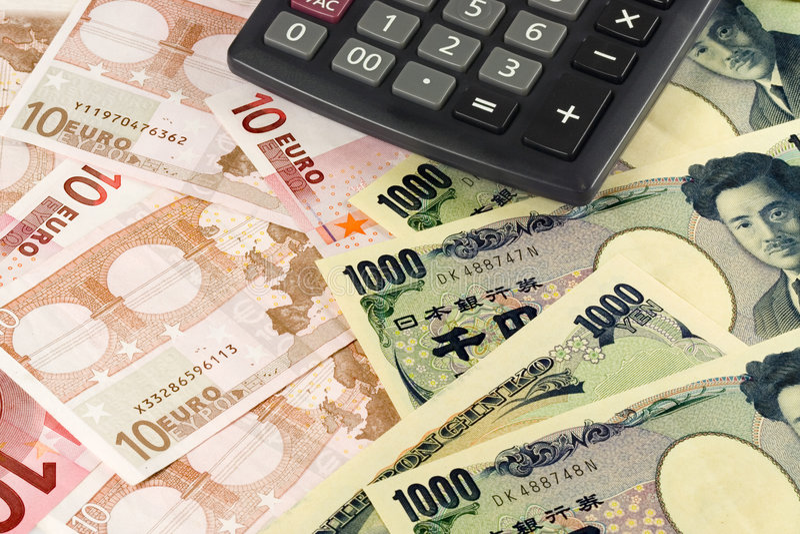 Euro en Japanse munt stock foto