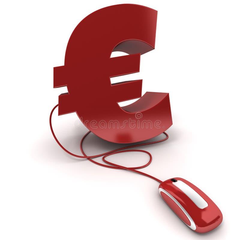 Euro en línea ilustración del vector