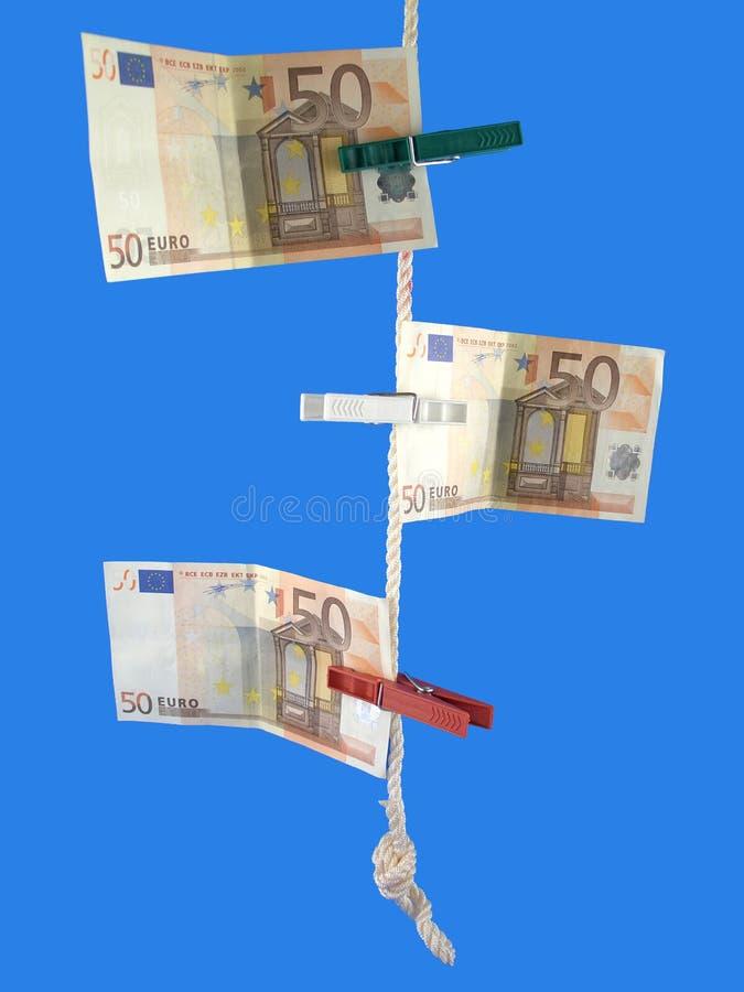 Euro en la cuerda imagen de archivo libre de regalías