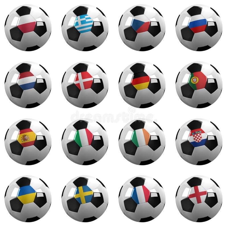 Euro- equipes do campeonato do futebol ilustração royalty free