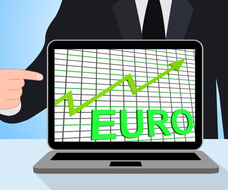 Euro esposizioni del grafico del grafico che aumentano economia europea royalty illustrazione gratis