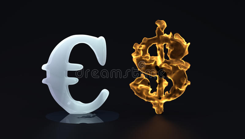 Euro et chaud dolar de glace illustration stock
