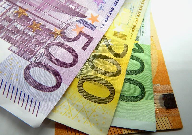 Euro 500, 200, 100 et 50 euros divers de billets de banque, photos libres de droits