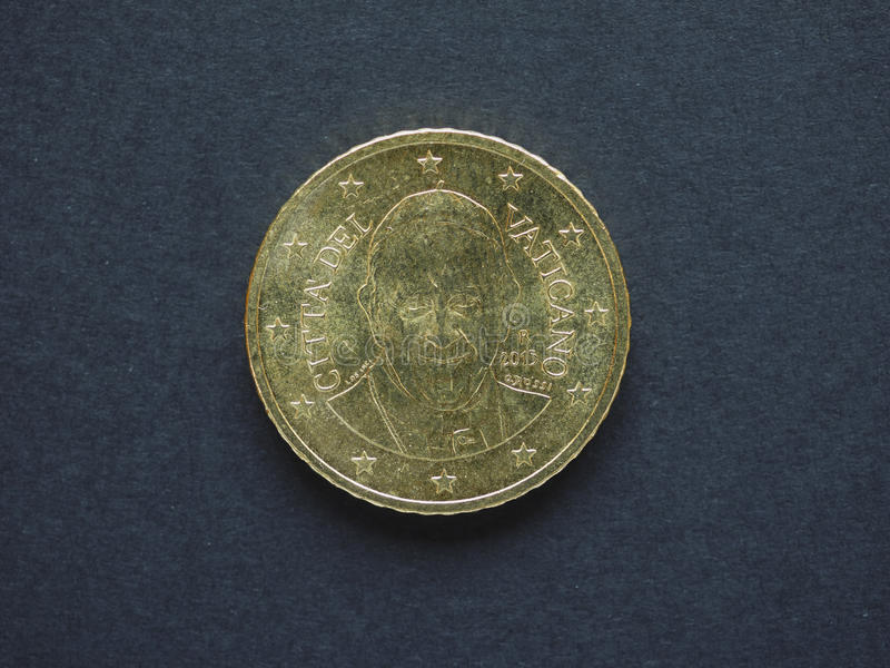 Euro EUR coin, currency of European Union EU. 50 cents from Vatican City, bearing the portrait of Pope Francis I royalty free stock images