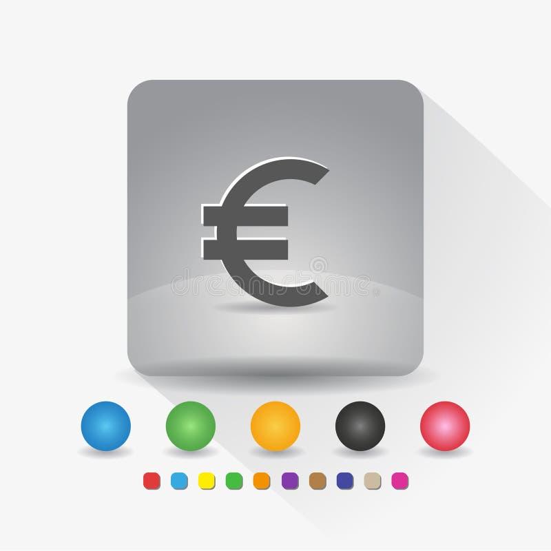 Euro europejska waluta symbolu ikona Szyldowy symbolu app w szarość kwadrata kształta round kącie z długiego cienia wektorową ilu royalty ilustracja
