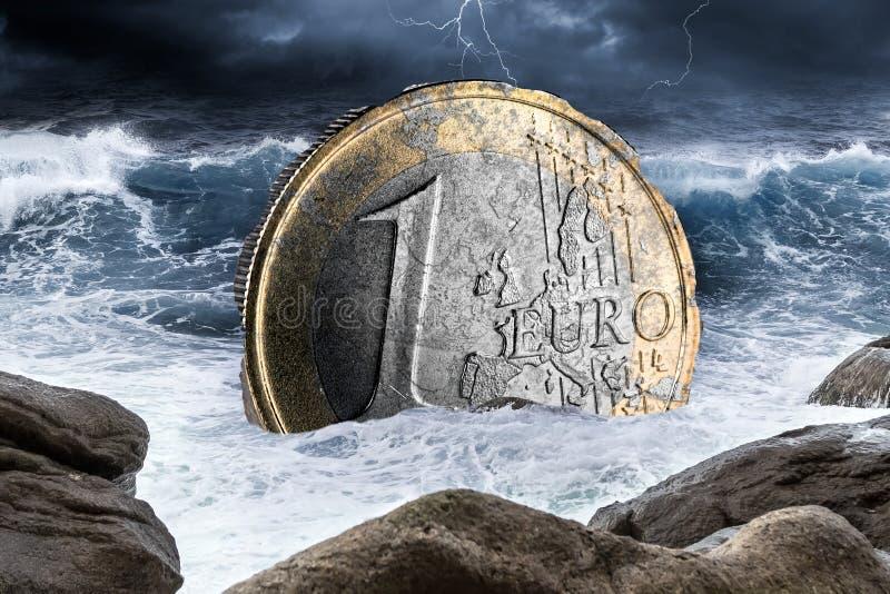 Euro europejski waluta kryzysu pojęcie fotografia royalty free