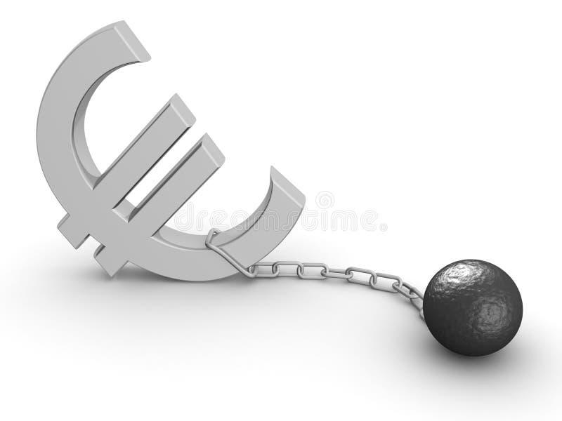 euro för ekonomi för begreppskrisvaluta stock illustrationer