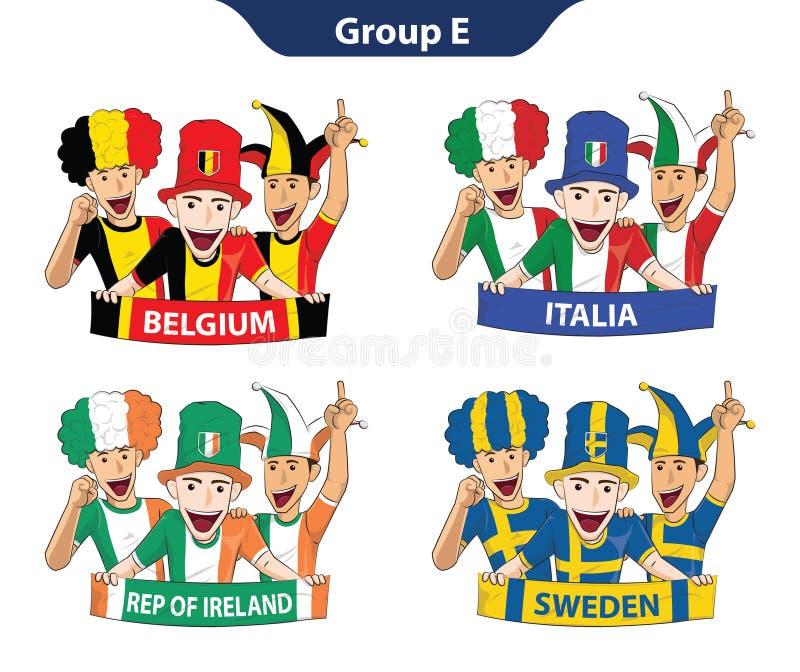 Euro 2016 för grupp E stock illustrationer