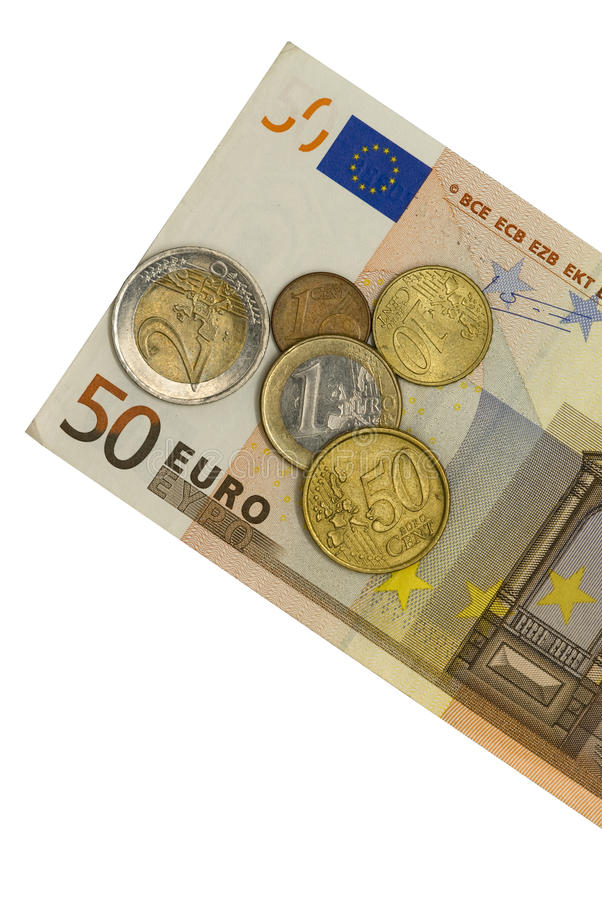 Euro fünfzig mit Münzen lizenzfreie stockbilder