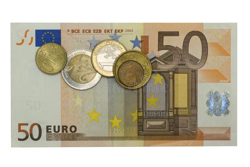 Euro fünfzig mit Münzen lizenzfreie stockfotos