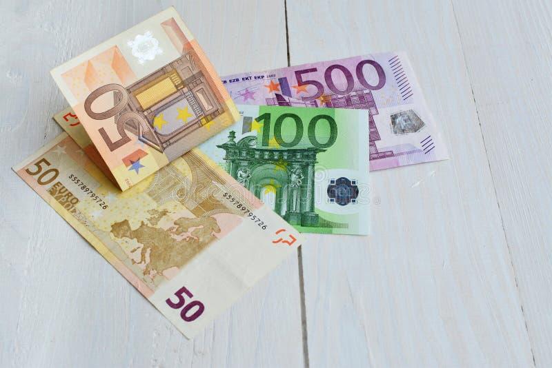 Euro factures de 500 100 et 50 billets de banque photo libre de droits