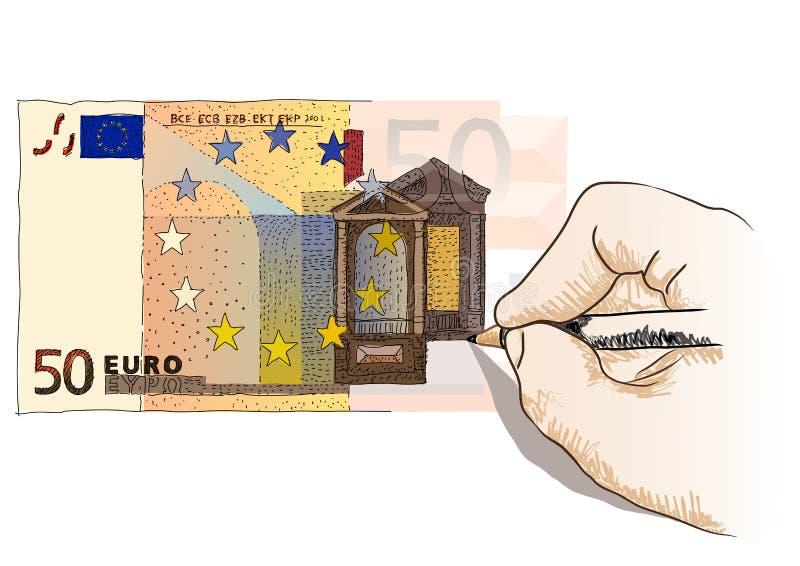 Euro femtio royaltyfri illustrationer