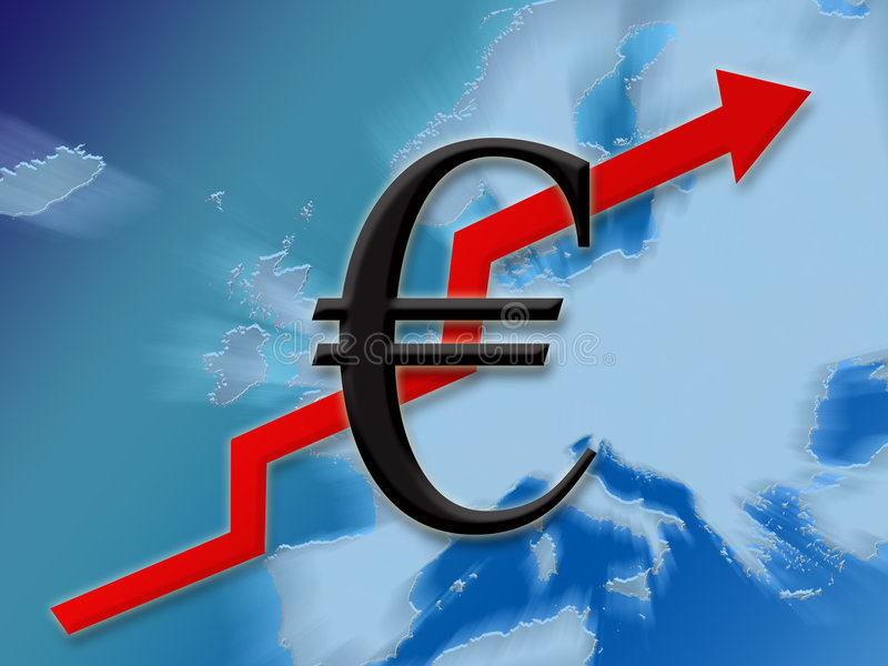 Euro finance up. Euro symbol finance going up on european map background illustration