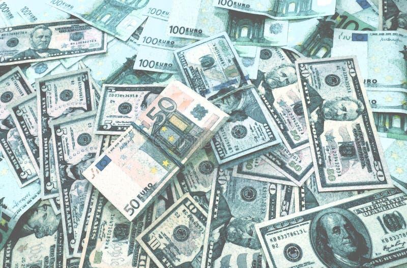 Euro fondo dei dollari dei soldi fotografia stock