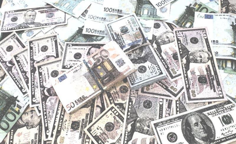 Euro fondo dell'acquerello dei soldi delle banconote del dollaro fotografie stock libere da diritti