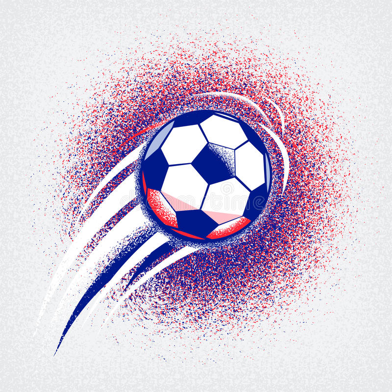 Euro 2016 football championship background with ball and france flag colors. Roughness texture vector illustration