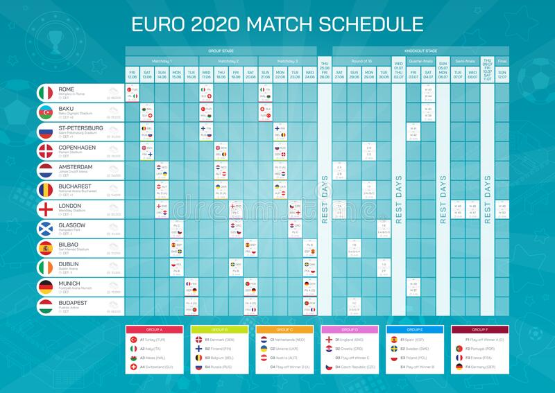 Euro 2020 football results table with flags. Euro football championship match schedule. All european countries participating. Euro 2020 match schedule with flags stock illustration