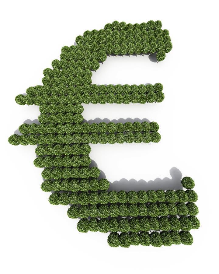Euro formes d'arbre de symbole illustration stock