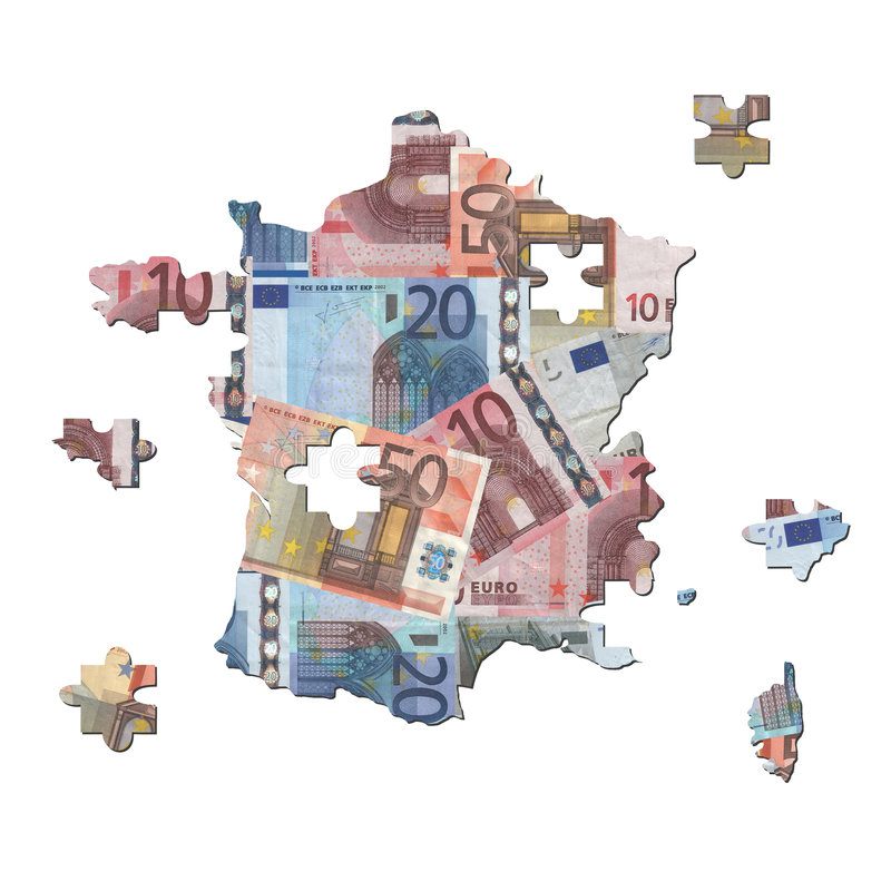 euro francuska wyrzynarki mapa royalty ilustracja