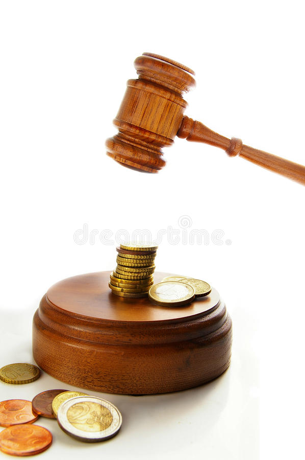 Euro gavel. Euro coins and court gavel on white stock photography