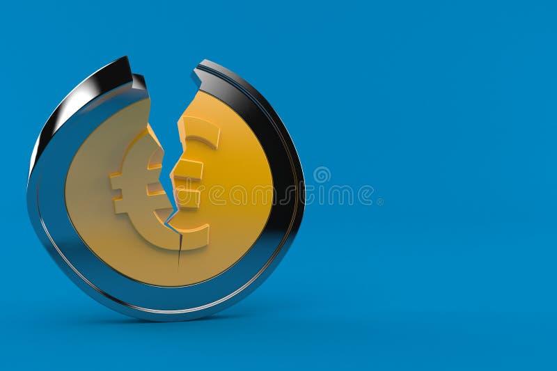 Euro gebroken muntstuk vector illustratie