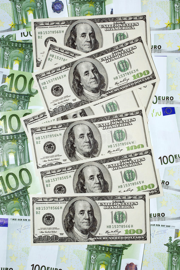 Euro gegen Dollar lizenzfreies stockbild
