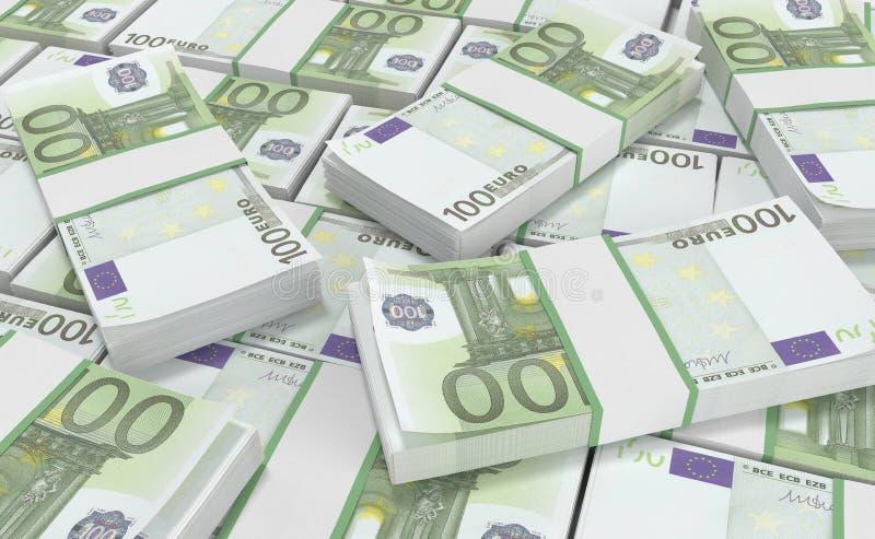 euro geld 100 euro contant geldachtergrond Euro geldbankbiljetten royalty-vrije illustratie