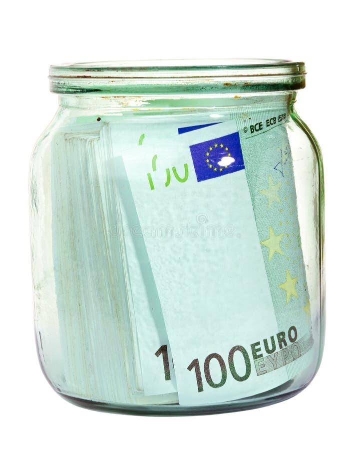 Euro geld in een kruik royalty-vrije stock foto's