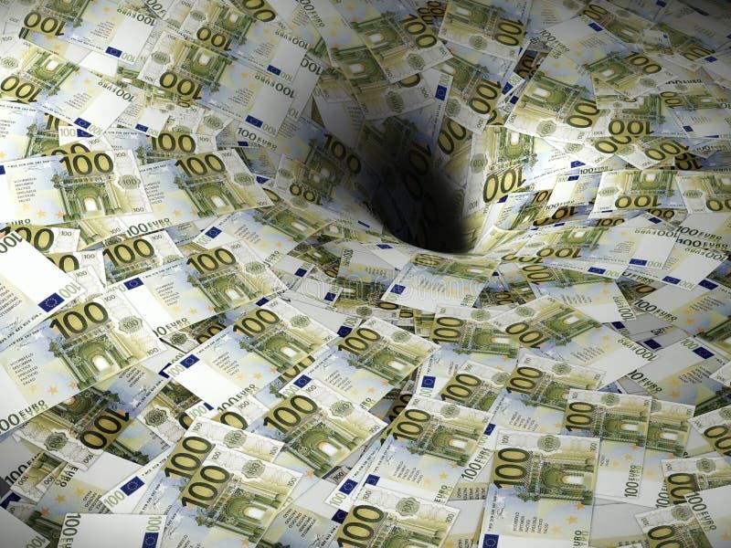 Euro geldstroom in zwart gat stock foto