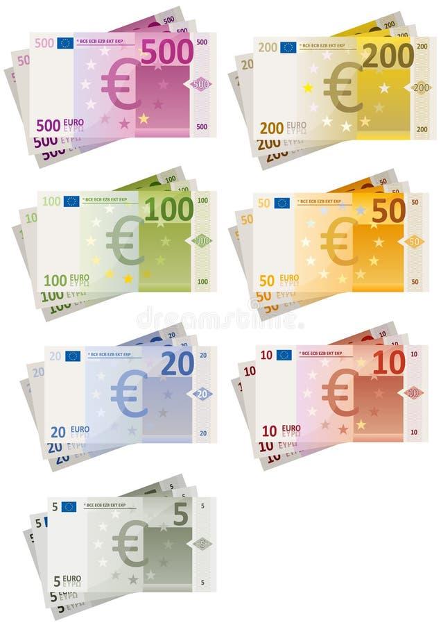 Euro Geplaatste Rekeningen royalty-vrije illustratie