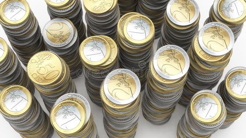 Euro gestapelde muntstukken stock illustratie