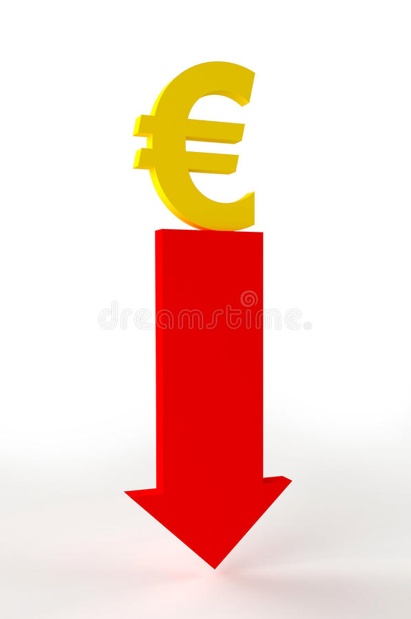 Download Euro going down stock illustration. Image of bank, euro - 21899812